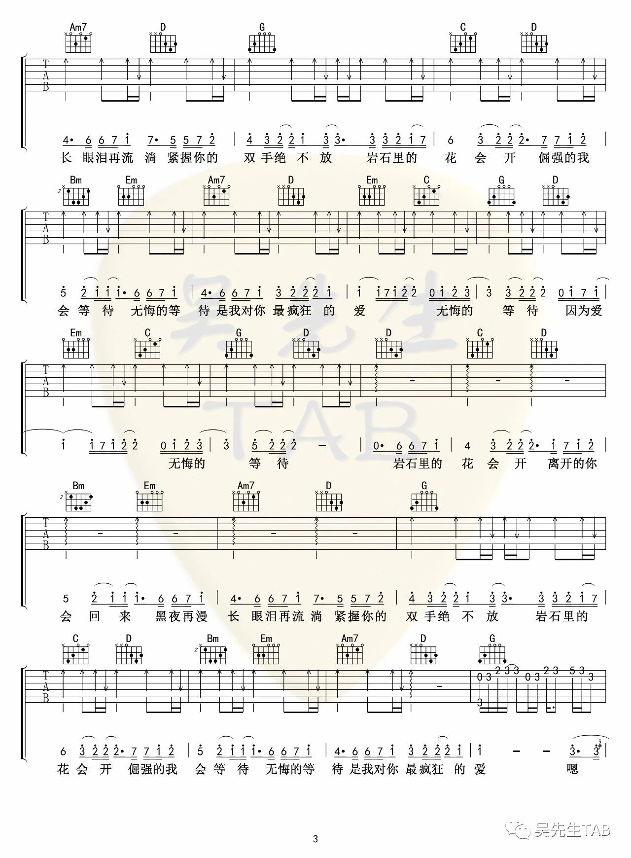 吉他派《岩石里的花》吉他谱-3