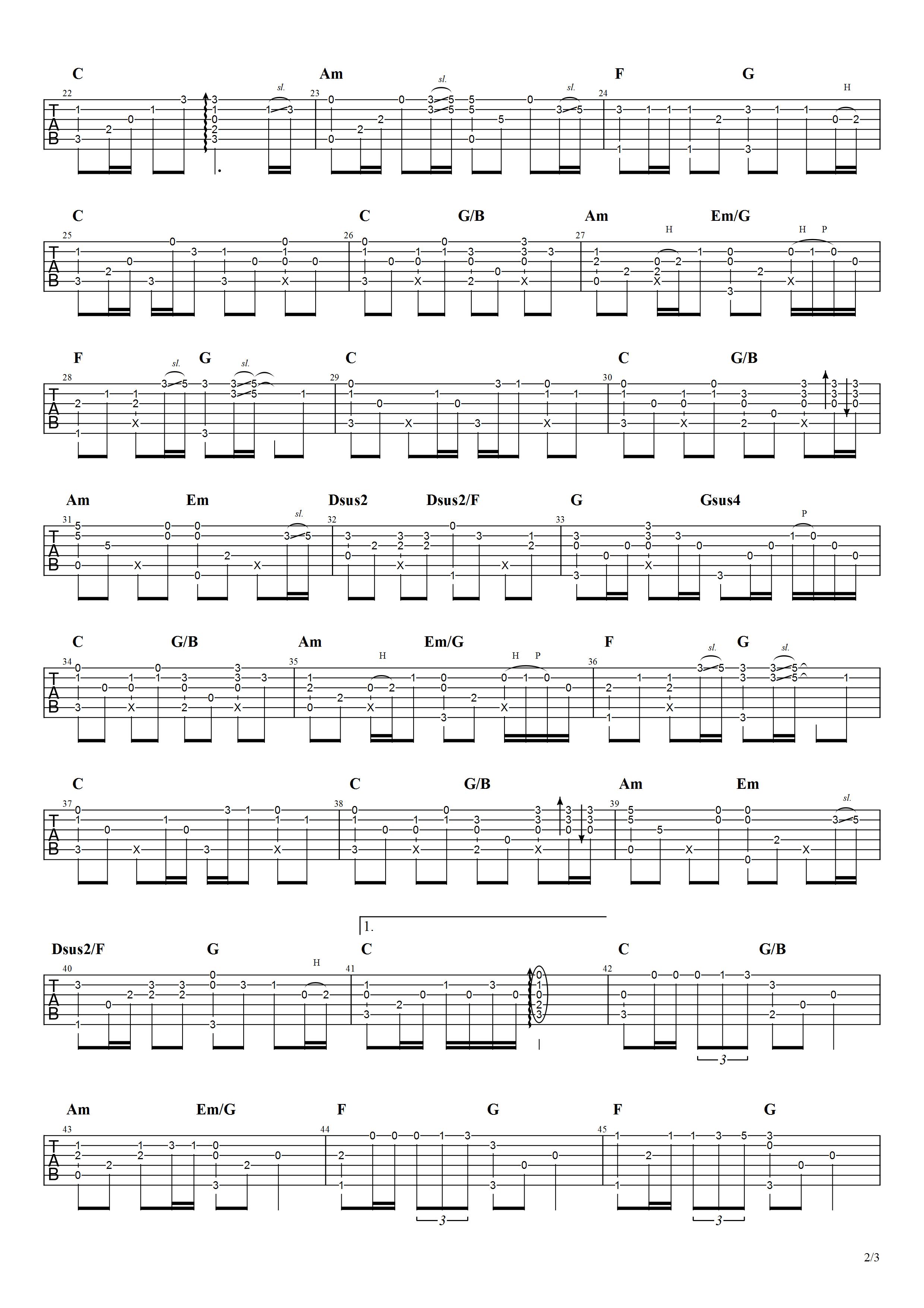 吉他派《哭砂》吉他谱-2