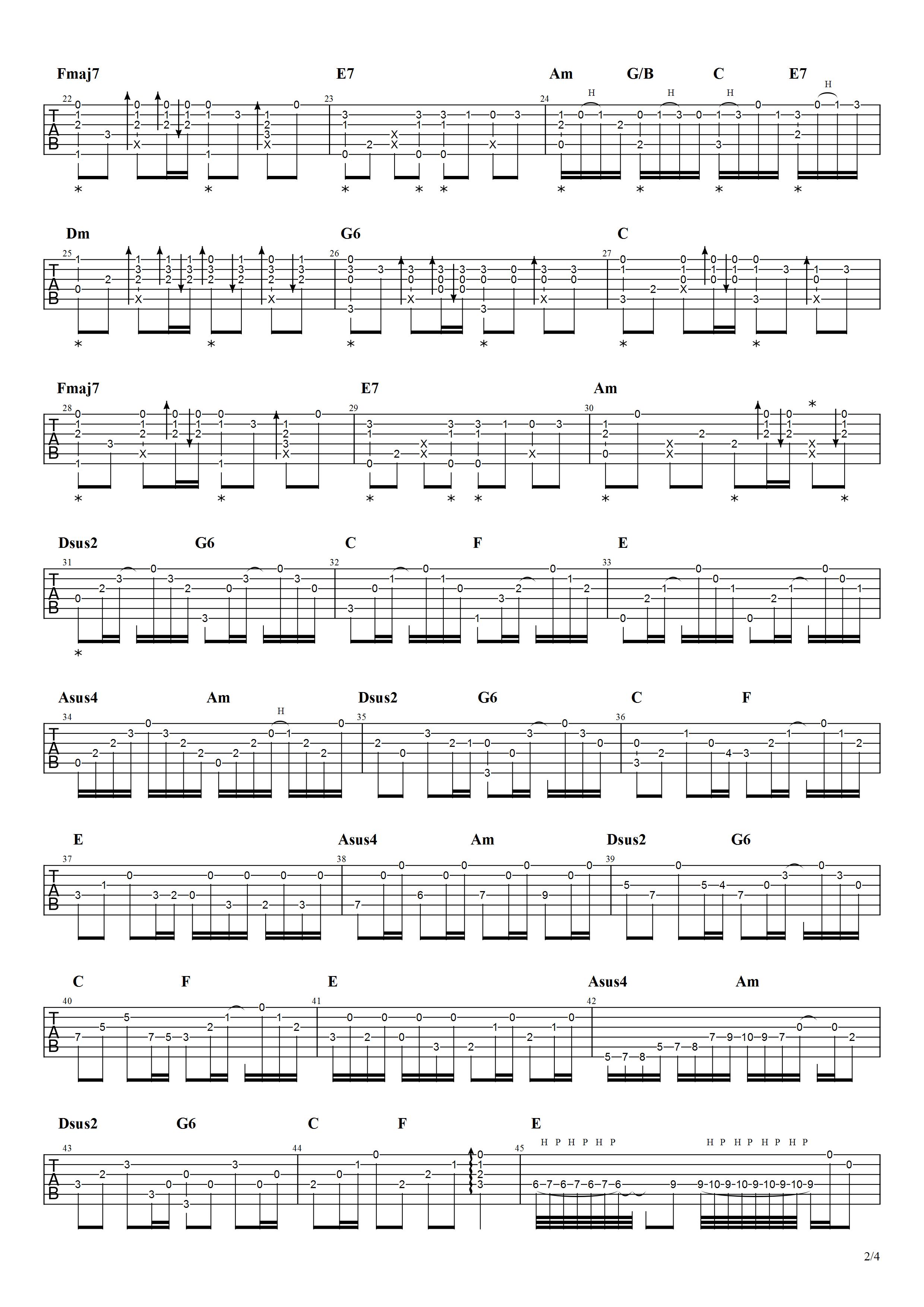 吉他派《冷雨夜》吉他谱-2