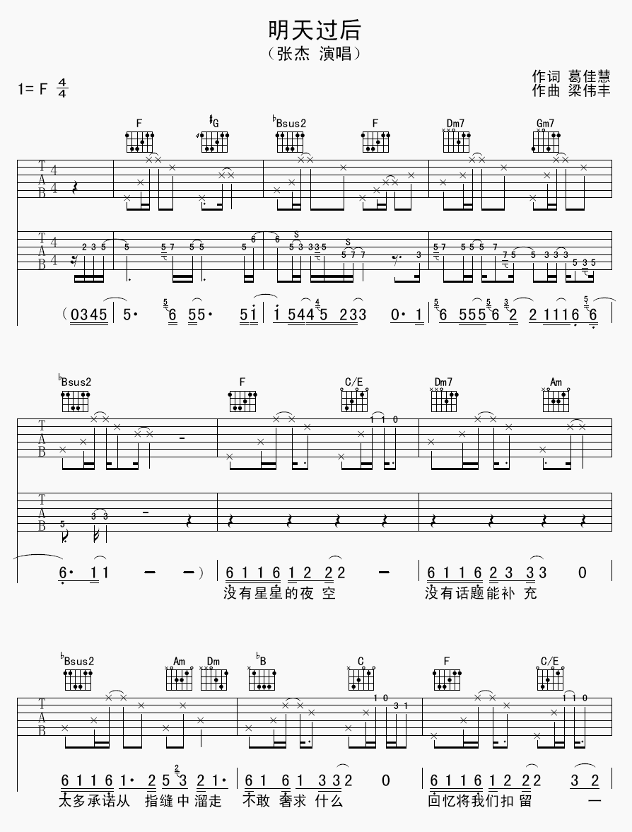 吉他派《明天过后》吉他谱-1