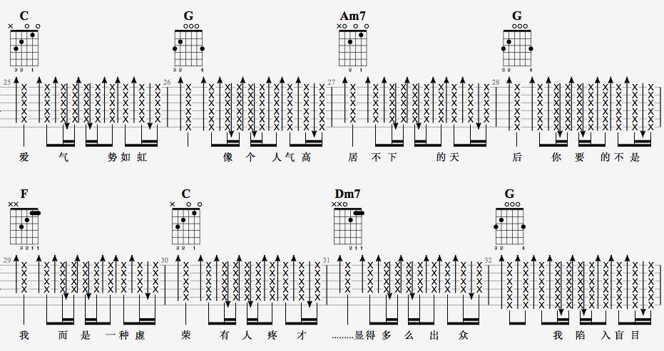 吉他派天后吉他谱简单版-4