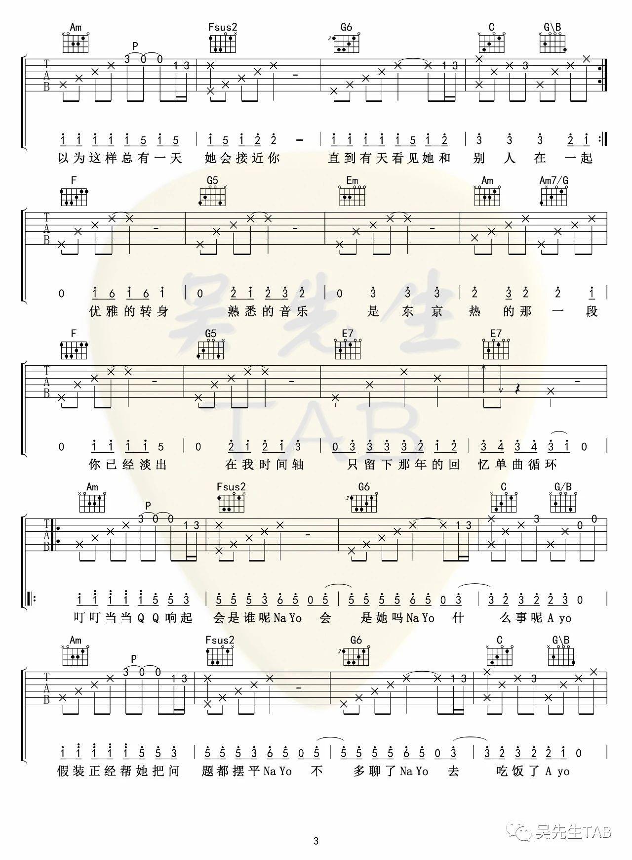 吉他派《东京不太热》吉他谱-3