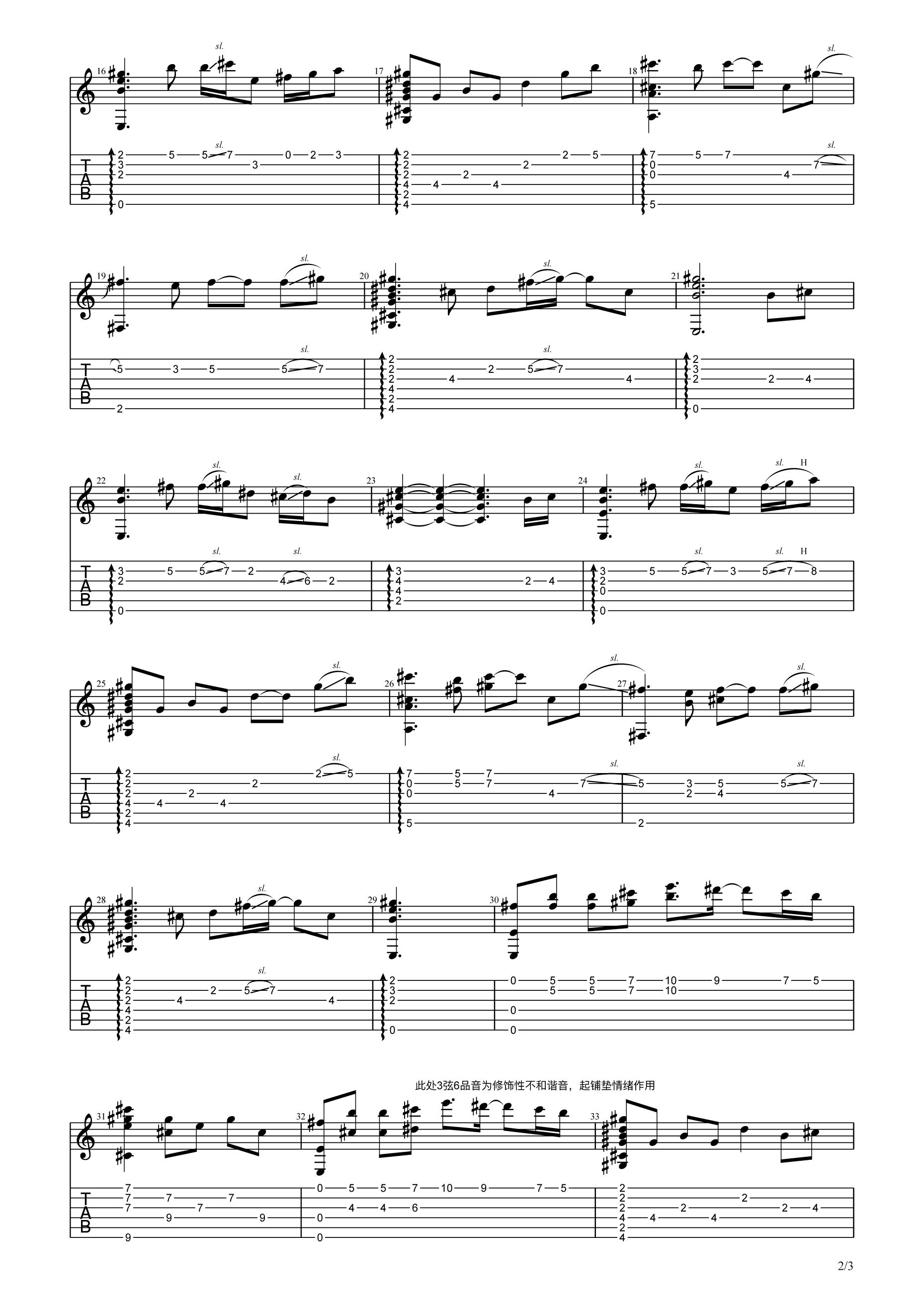 吉他派《女儿情》吉他谱指弹谱-2