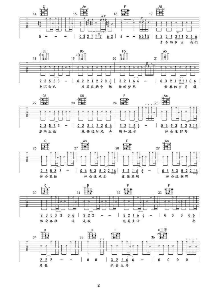 吉他派《完美生活》吉他谱-2
