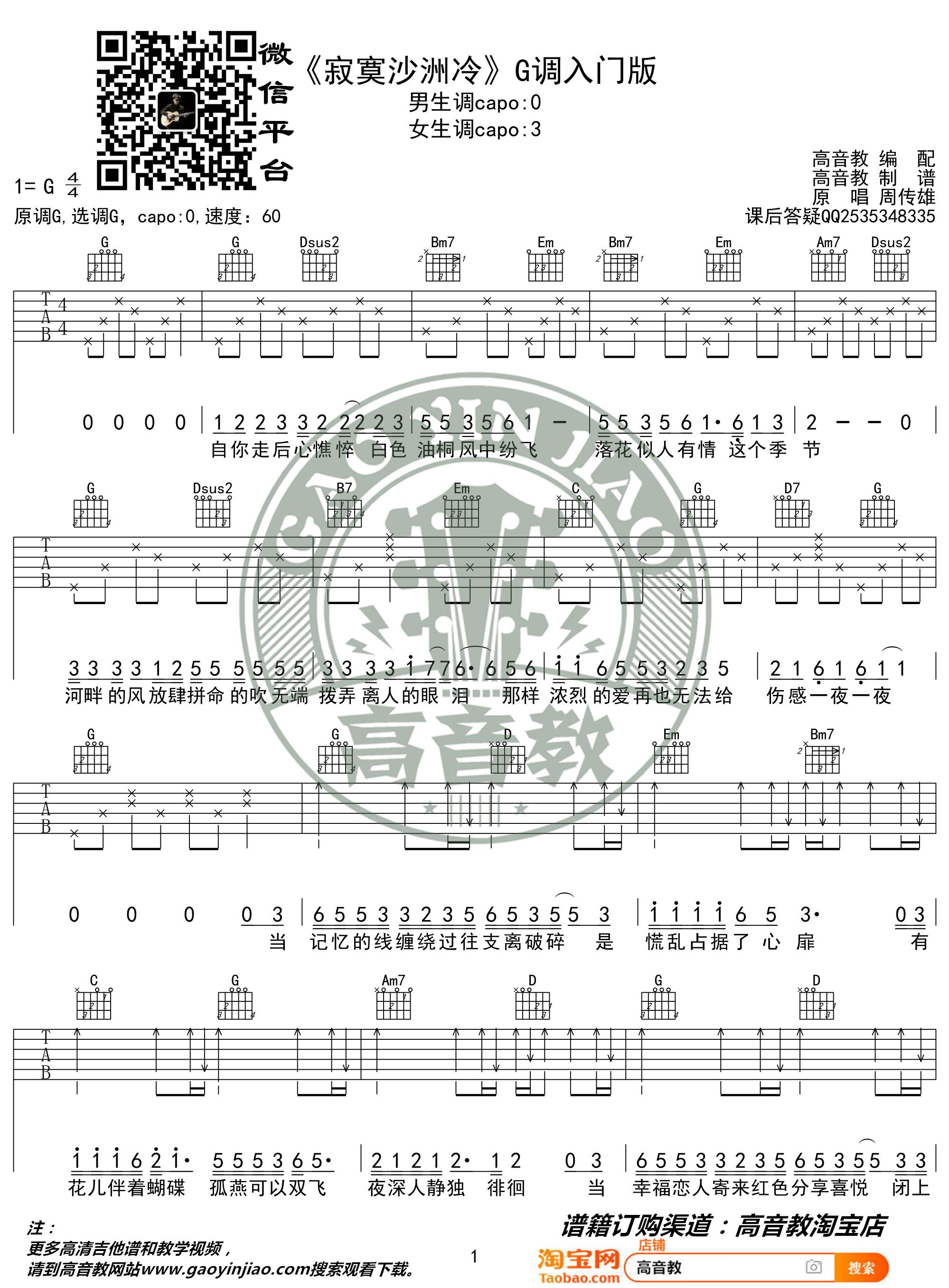 吉他派寂寞沙洲冷吉他谱-1