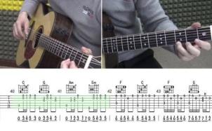 《D大调卡农》吉他谱_吉他指弹视频教程_C调和弦编配