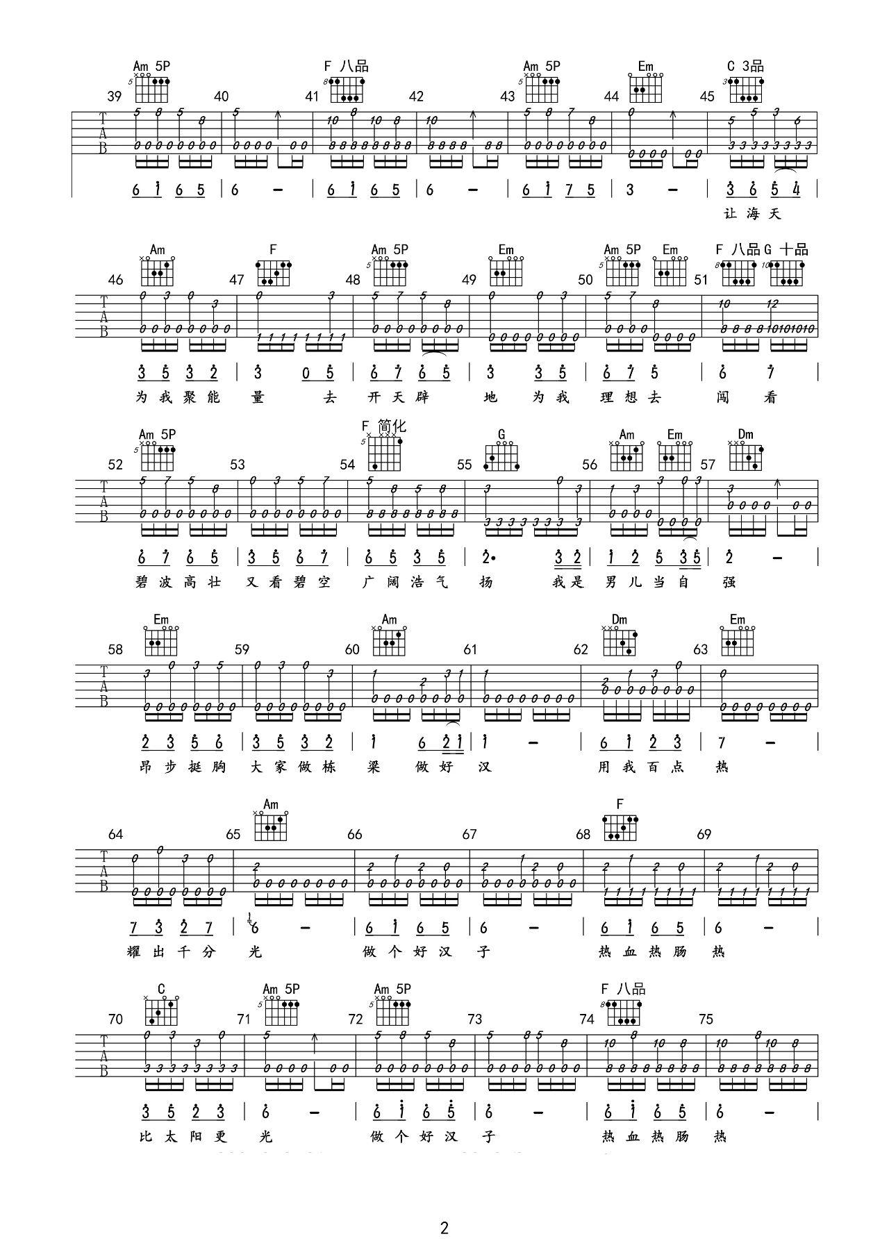 吉他派《男儿当自强》吉他谱-2